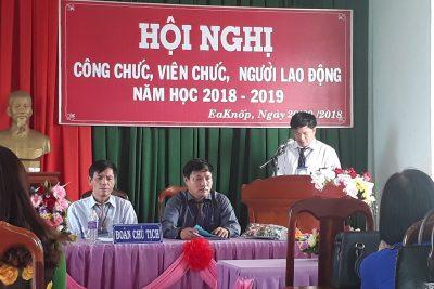 NGÀY 20/9/2018 (THỨ 5) TRƯỜNG THCS HÙNG VƯƠNG ĐÃ TỔ CHỨC THÀNH CÔNG HỘI NGHỊ CC,VC, NGƯỜI LAO ĐỘNG NĂM HỌC 2018 – 2019